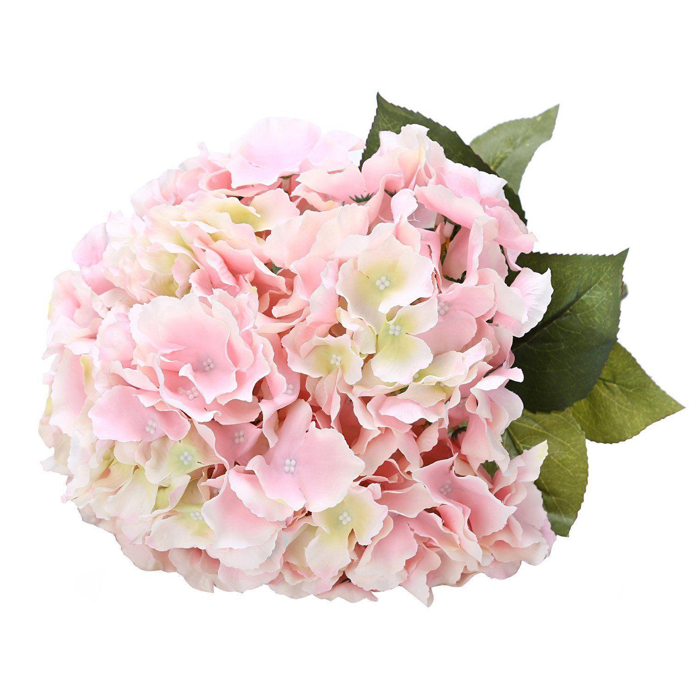 Amazon Com Houda Artificial Silk Hydrangea Bouquet Fake Flowers Arrangement Home Wedding Decor Pink H Fake Flower Arrangements Fake Flowers Silk Hydrangeas