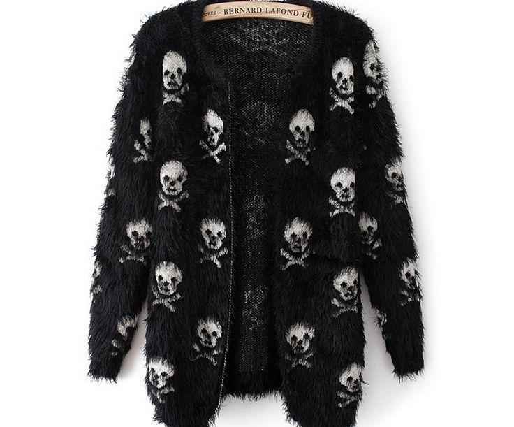 2013 NEW fashion casual long sleeve skull sweater cardigan one size black  #Unbranded #Cardigan