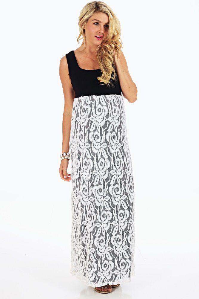 8dd06c5b26b Black White Lace Colorblock Maternity Maxi Dress