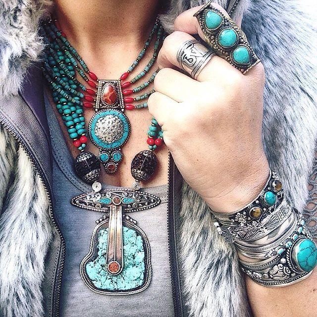 Turquoise boho jewelry