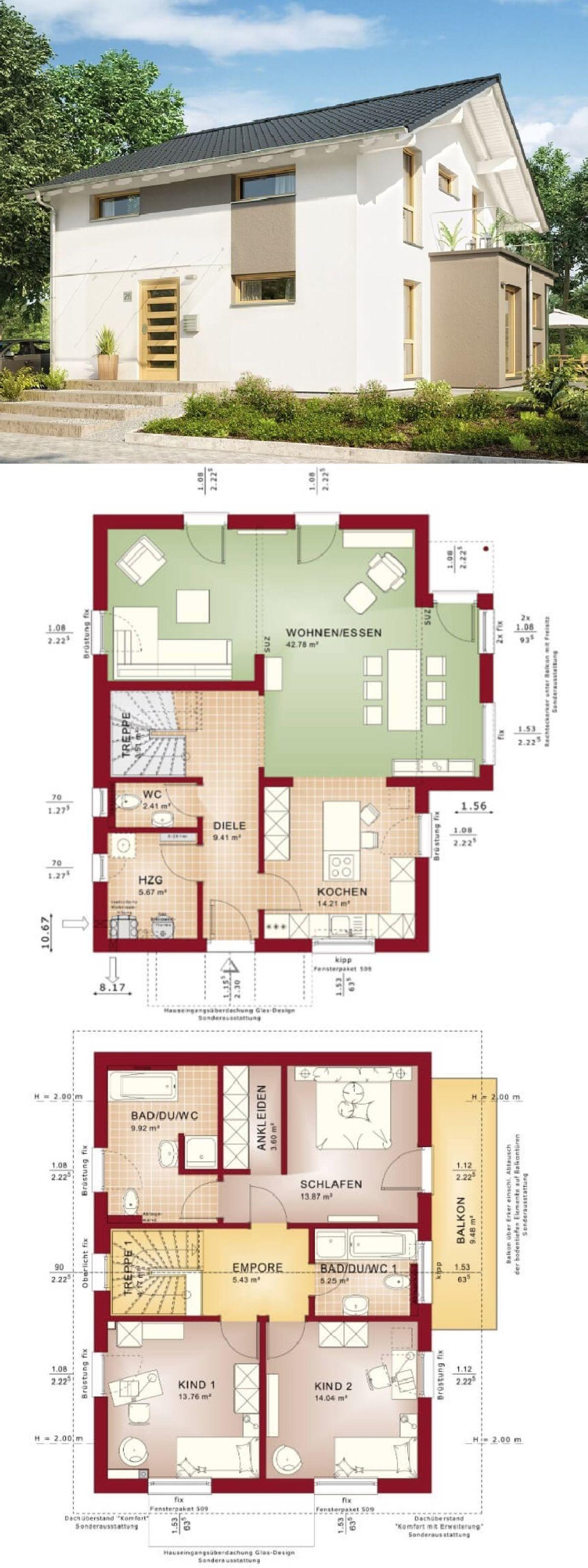 Erker Bauen modernes einfamilienhaus mit satteldach architektur wintergarten