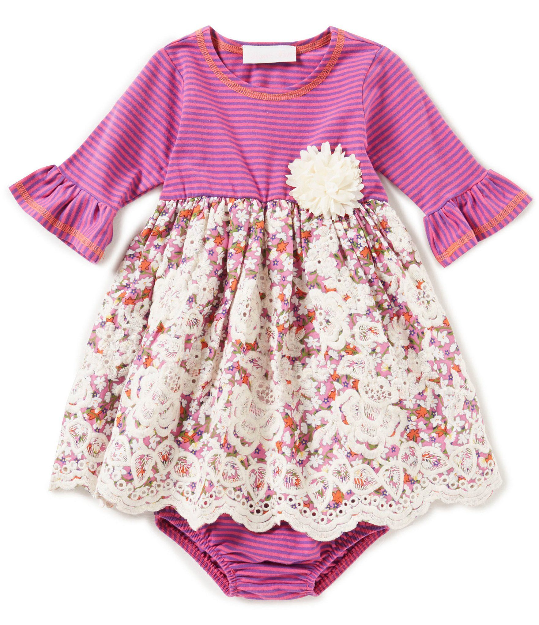 Shop for Bonnie Baby Baby Girls 12 24 Months Stripe Lace A Line