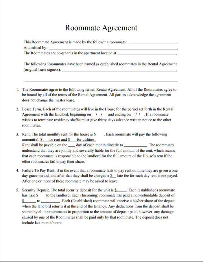 This Is The Roommate Agreement We Will Be Using For Six People