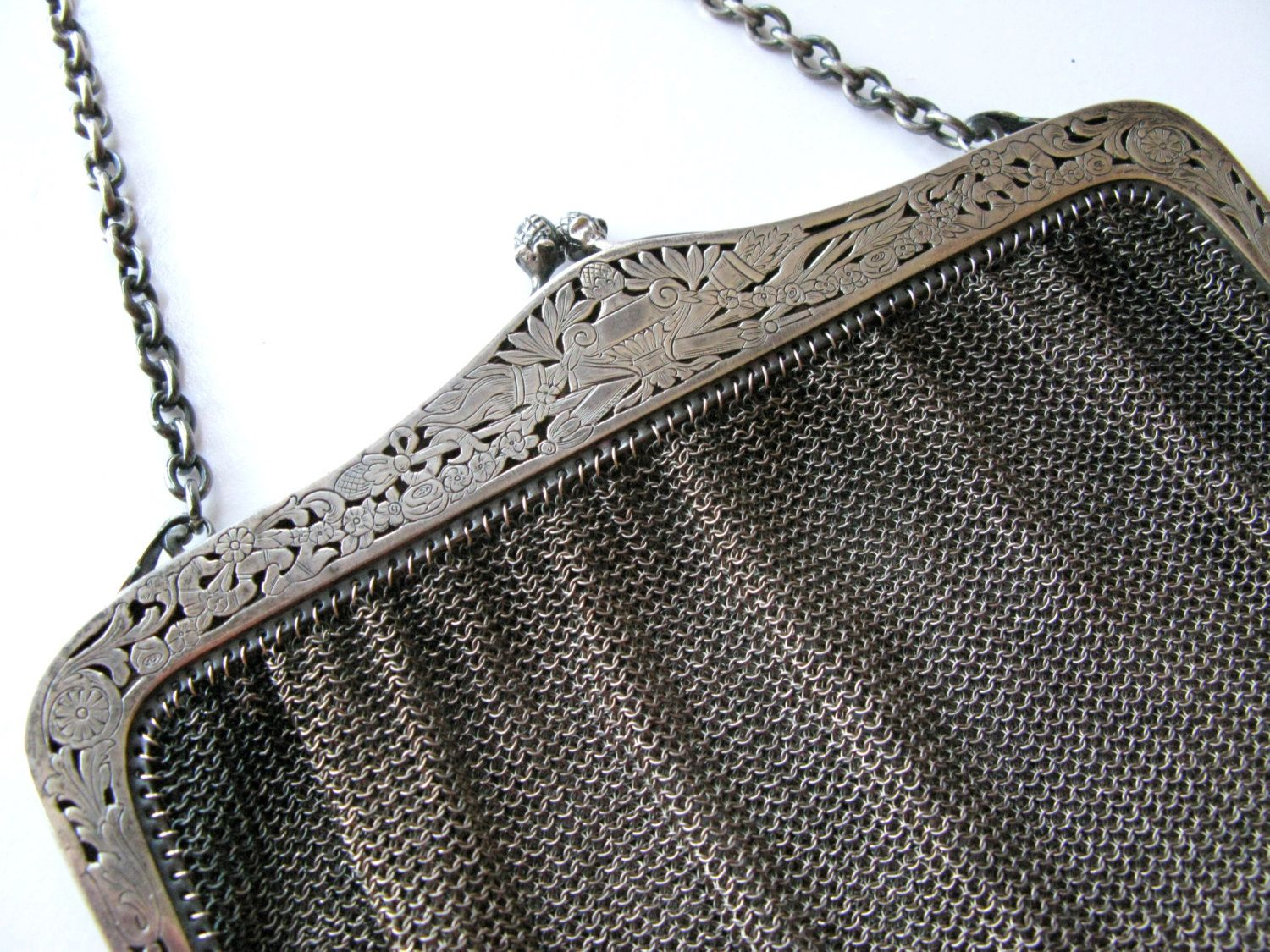 Antique Sterling Purse, Fritz Bemberg 935 Silver Mesh Purse, Wedding Purse