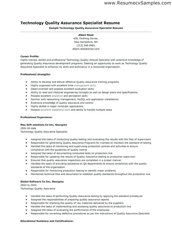 Quality Assurance Analyst Sample Resume Resume Templates For Quality Control #control #quality #resume .