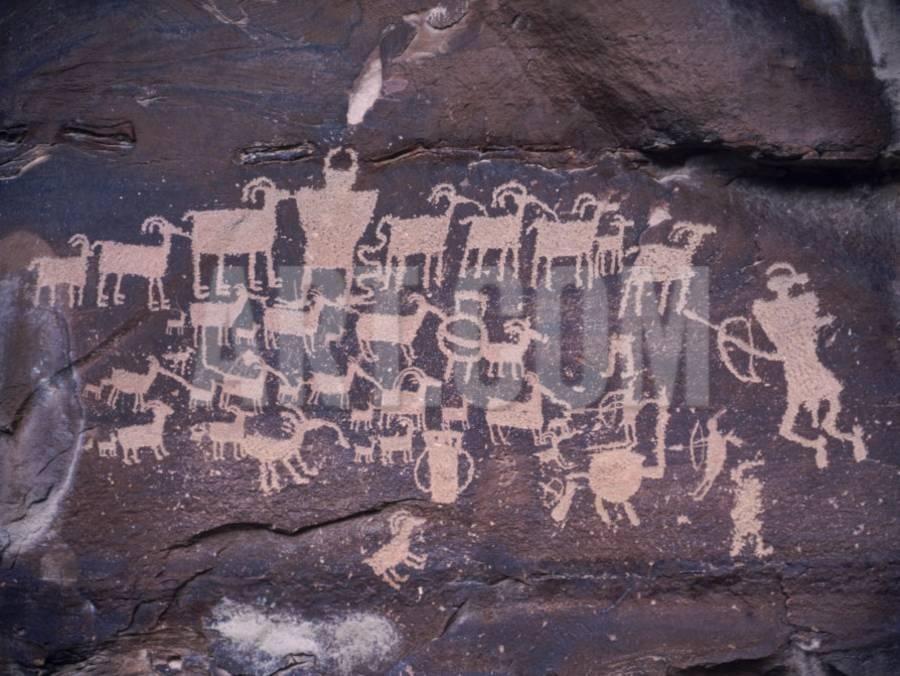 Ancient PuebloAnasazi Rock Art Showing a Hunt Scene