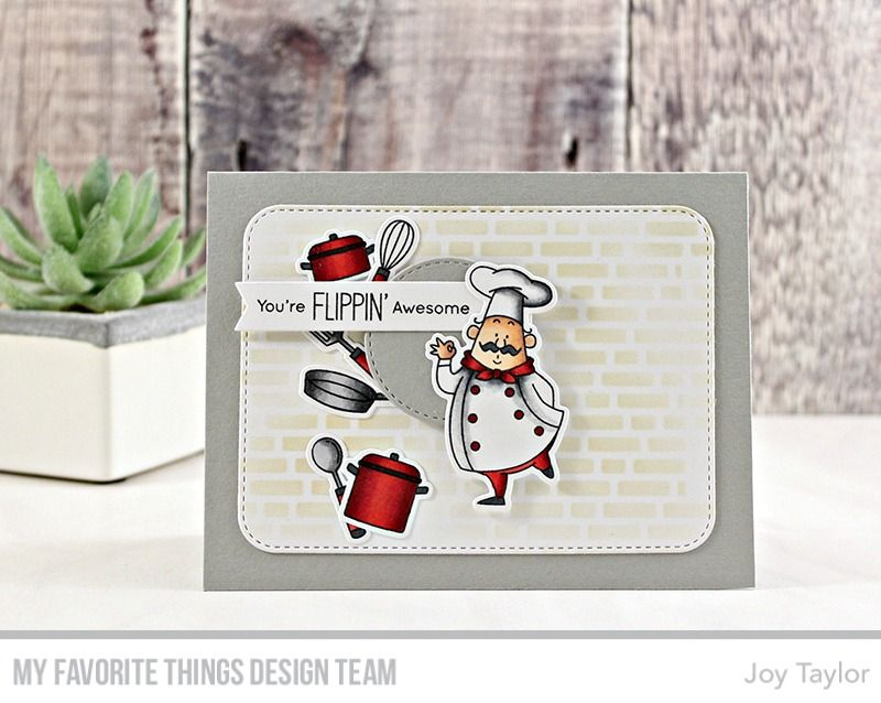 Recipe for Happiness stamp set and Die-namics, Blueprints 31 Die-namics, Inside & Out Stitched Circle Die-namics, English Brick Wall Stencil - Joy Taylor #mftstamps