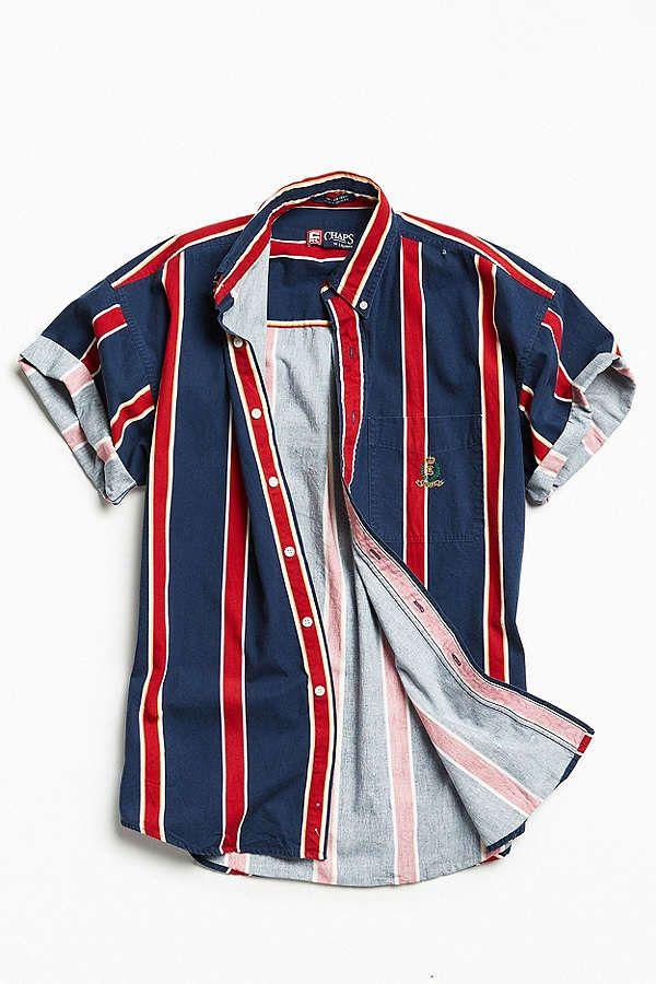 1eaeb4e2a9 Slide View: 1: Vintage '90s Vertical Stripe Short Sleeve Button-Down Shirt