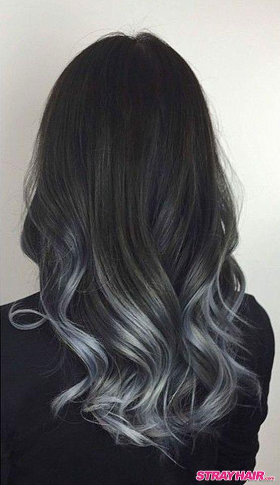 Balayage Highlights Auf Schwarzem Haar Haare Balayage Haarfarben Schwarzes Haar