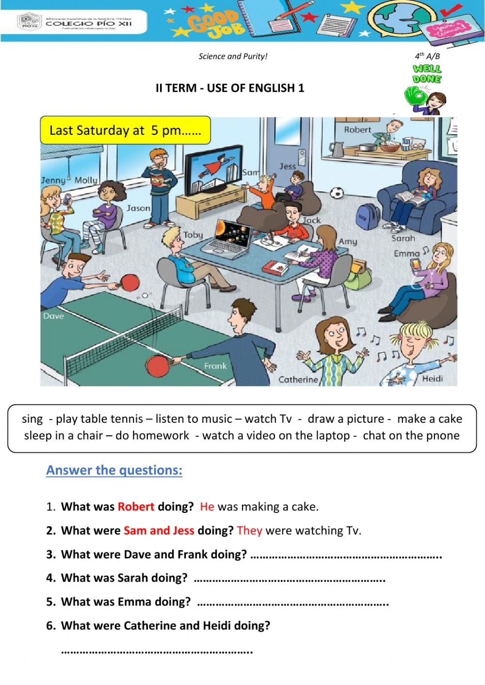 Past continuous online worksheet for 4th grade Primary. You can do the  exerc…   Reading comprehension kindergarten [ 1413 x 1000 Pixel ]