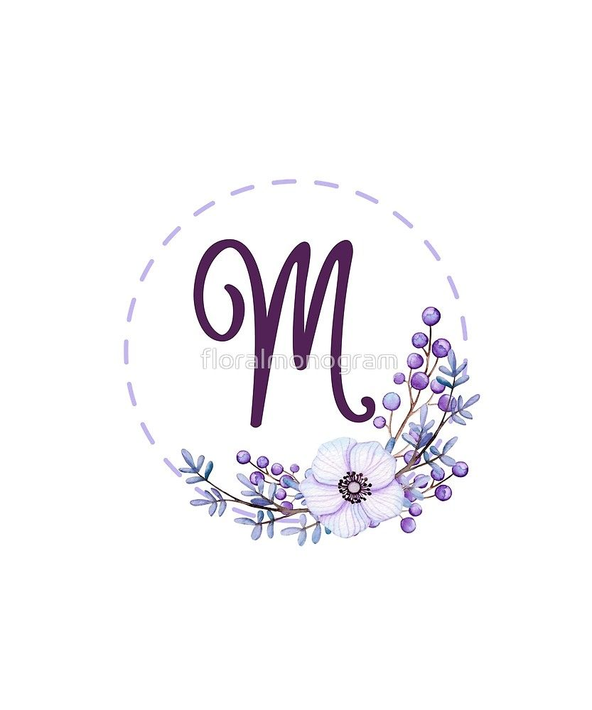 Monogram M Violet Floral And Berries Sticker By Floralmonogram Flower Letters Flower Background Iphone Logo Design Inspiration
