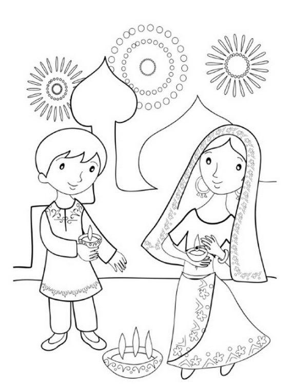 Diwali Colouring Pages | Diwali colors | Diwali drawing ...