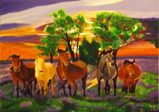 Title:Alert; Artist Name:OLIVER MACHADO; Description:Alert horses...; Art Form:Paintings; Style:Realism; Media:Acrylic; Genre:Animals,Nature