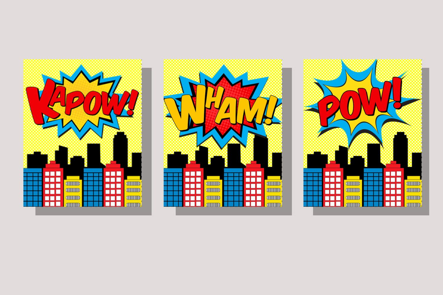 SUPERHERO CITY- Wall Art- Color Buildings- Instant Download ...