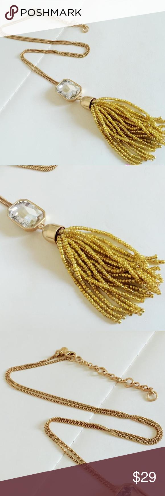 J crew gold beads tassel crystal pendant tassels chains and retro