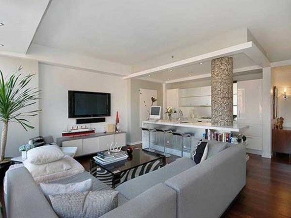 open big plan living room design idea with corner sofa and tv on