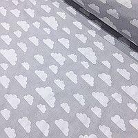 3c3647f651e Лоскуток. Ткань хлопковая с белыми облаками на сером фоне 18 160 см ...