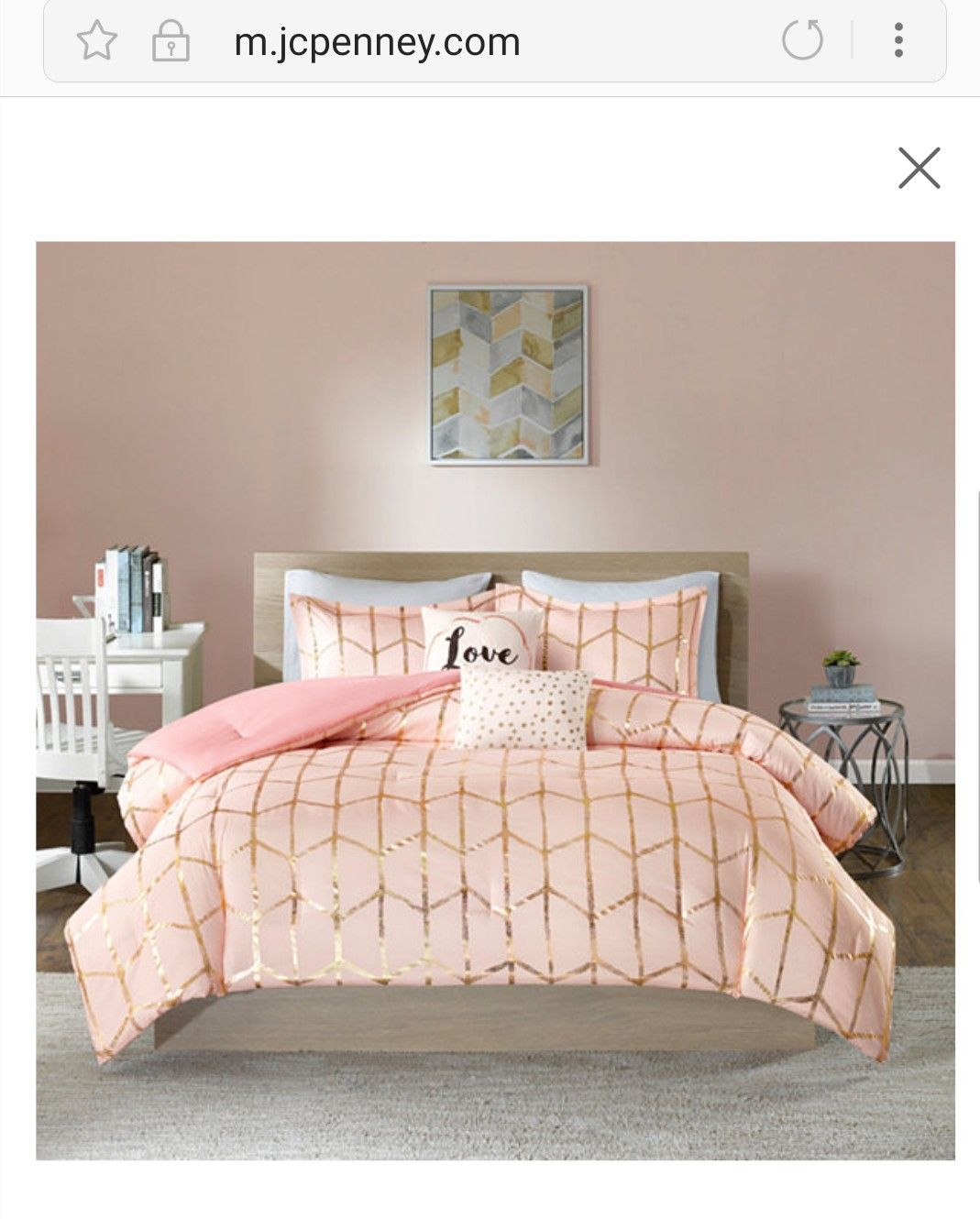 My New Comforter Set So Cute My Inspo Behind My Pink And Gold Room Board Comforter Sets Gold Comforter Gold Comforter Set