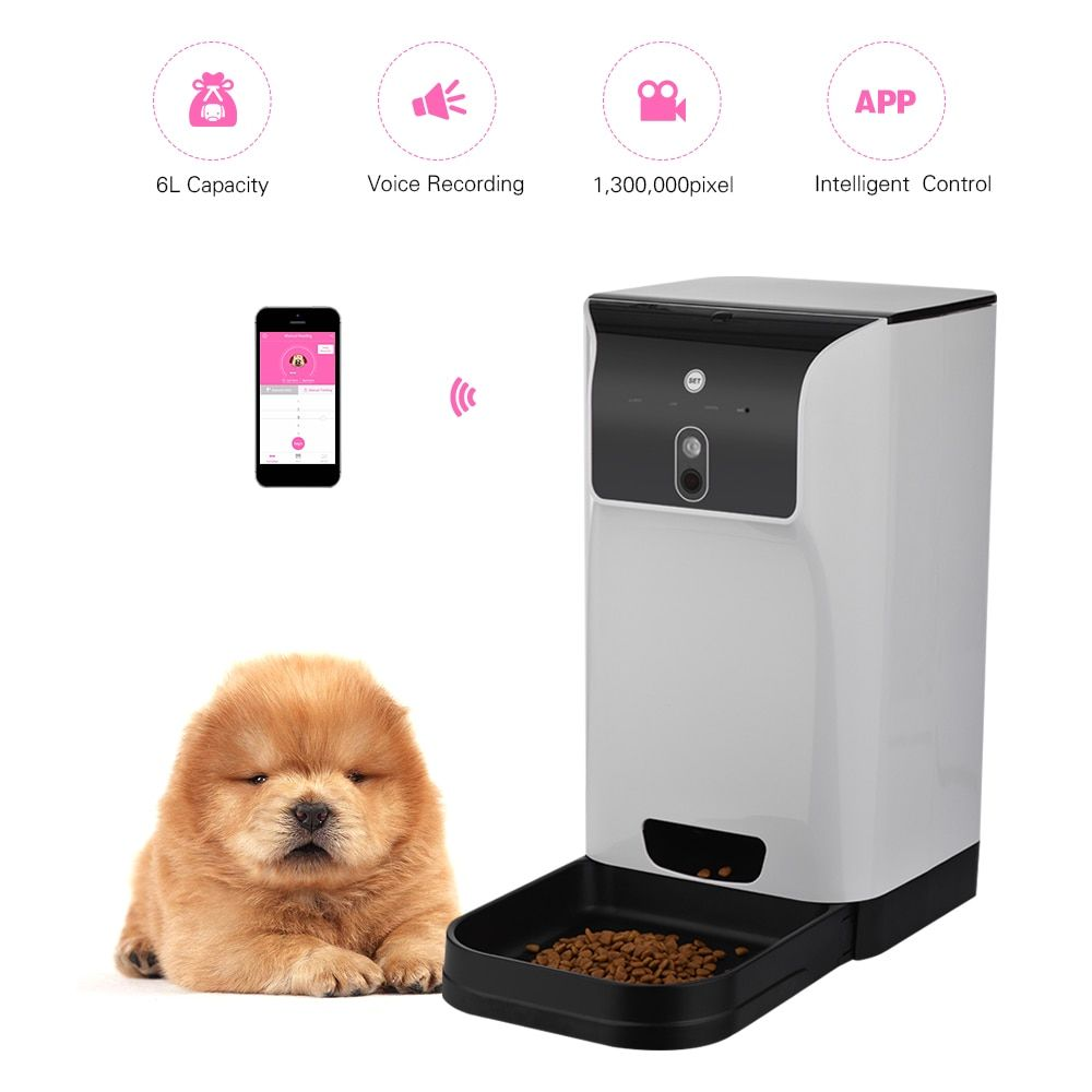 Automatic 6l Storage Pet Feeder With Camera Voice Recorder Home