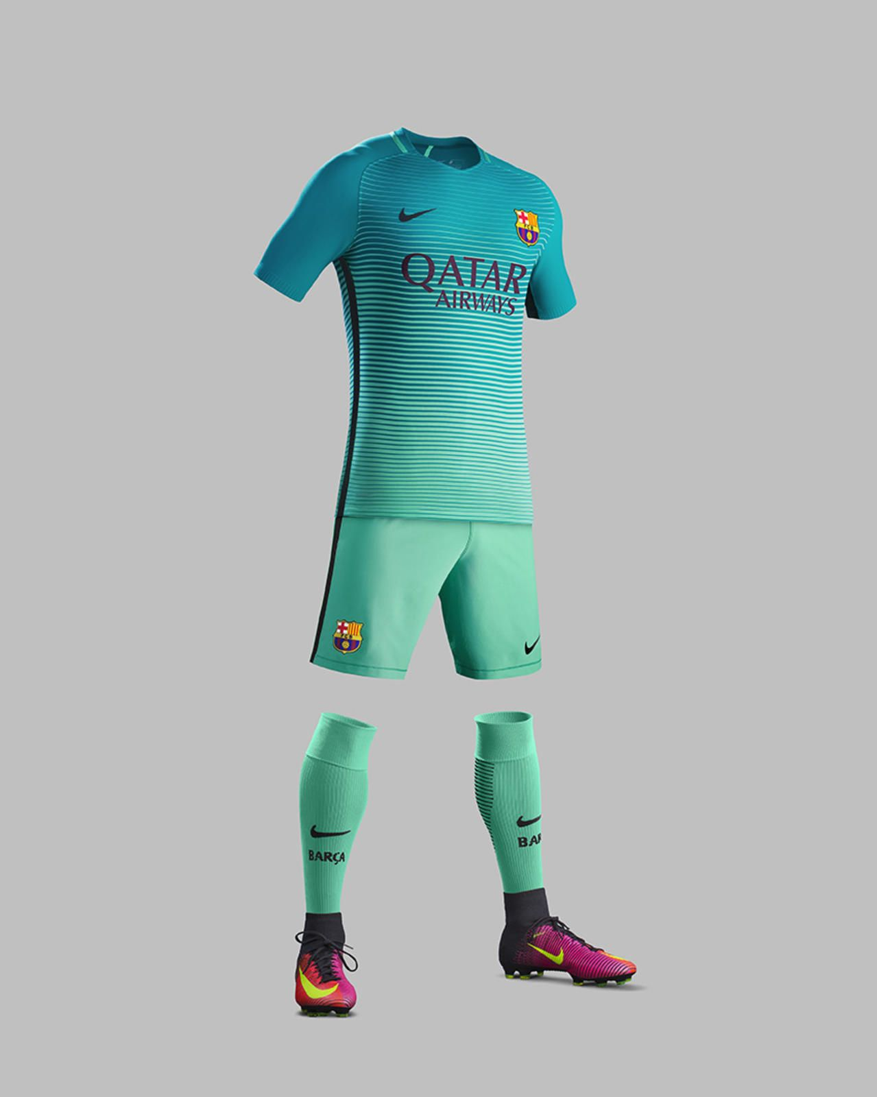 e892ca5d1d54f Terceira camisa do Barcelona 2016-2017 Nike kit