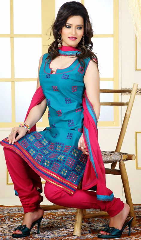 Teal Blue Dress with Contrast Dupatta