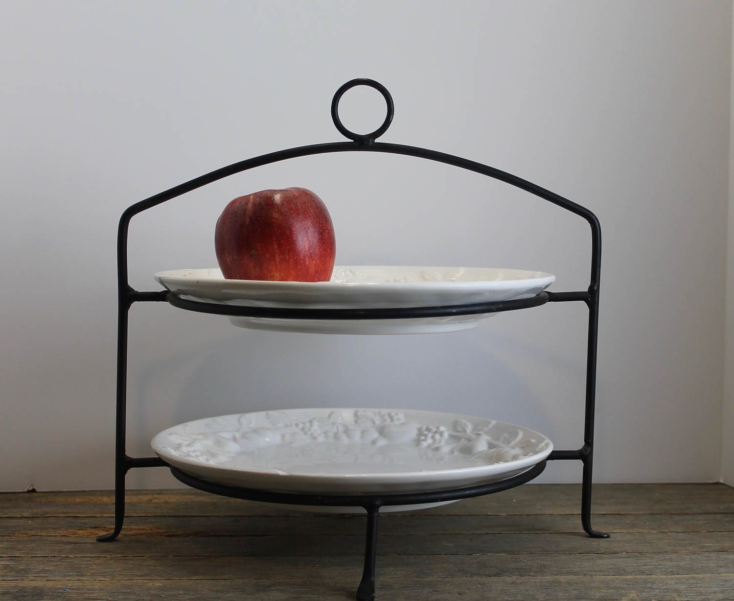 Vintage Wrought Iron 2 Tiered Pie Stand Plate Holder Display Rack // Buffet Table Server by MyBarn on Etsy & Vintage Wrought Iron 2 Tiered Pie Stand Plate Holder Display Rack ...