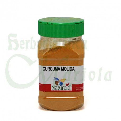 Naturcid, Cúrcuma Molida, una planta herbácea de origen indio, (Curcuma longa L.), de la familia del jengibre, de sabor leñoso, picante y un poco amargo, con propiedades antiinflamatorias