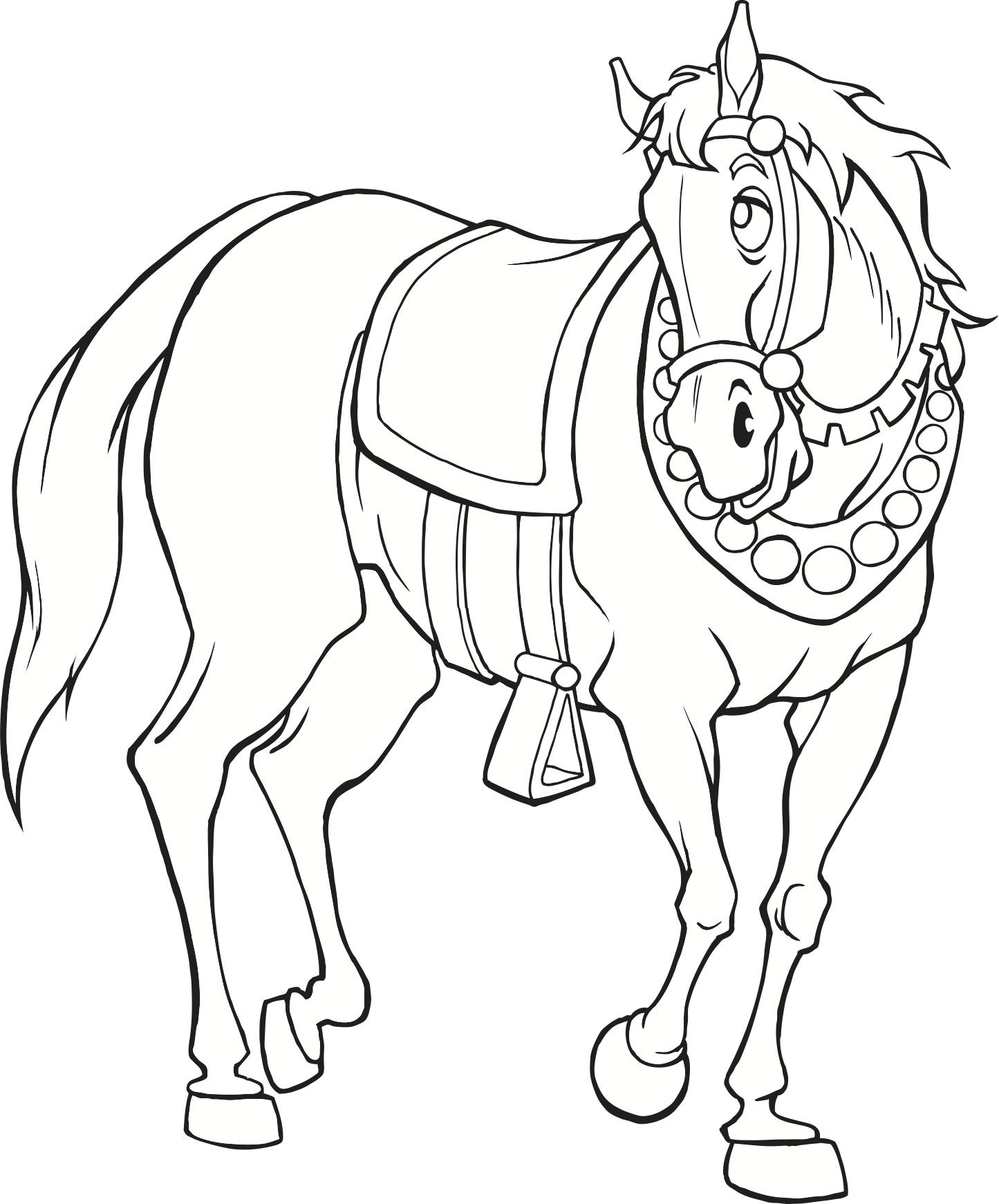 Medieval Horse (coloring page) | Horse coloring pages ...