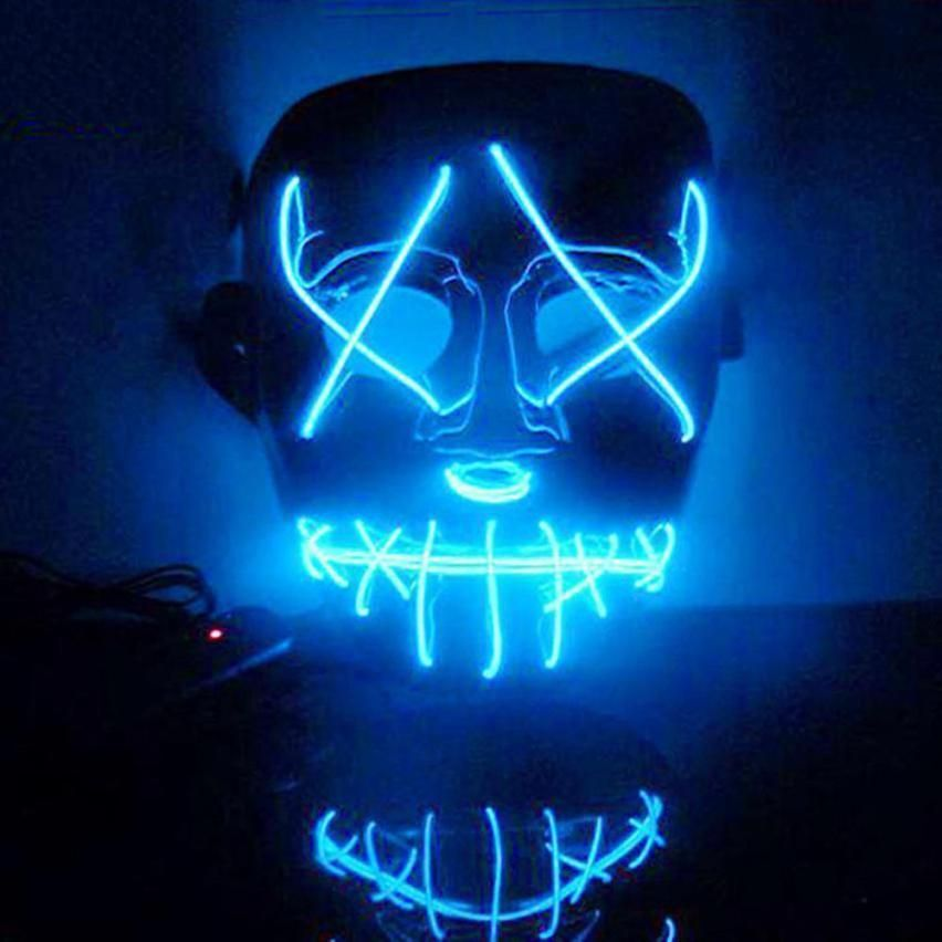 Novelty & Special Use Halloween Mask Led Masks Glow Scary Mask Light Up Cosplay Mask Glow In Dark For Festival Music Party Costume Christmas Fancy Colours
