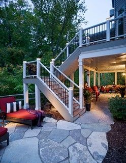 Staircase From Deck To Patio Off Walkout Basement Natural Stone