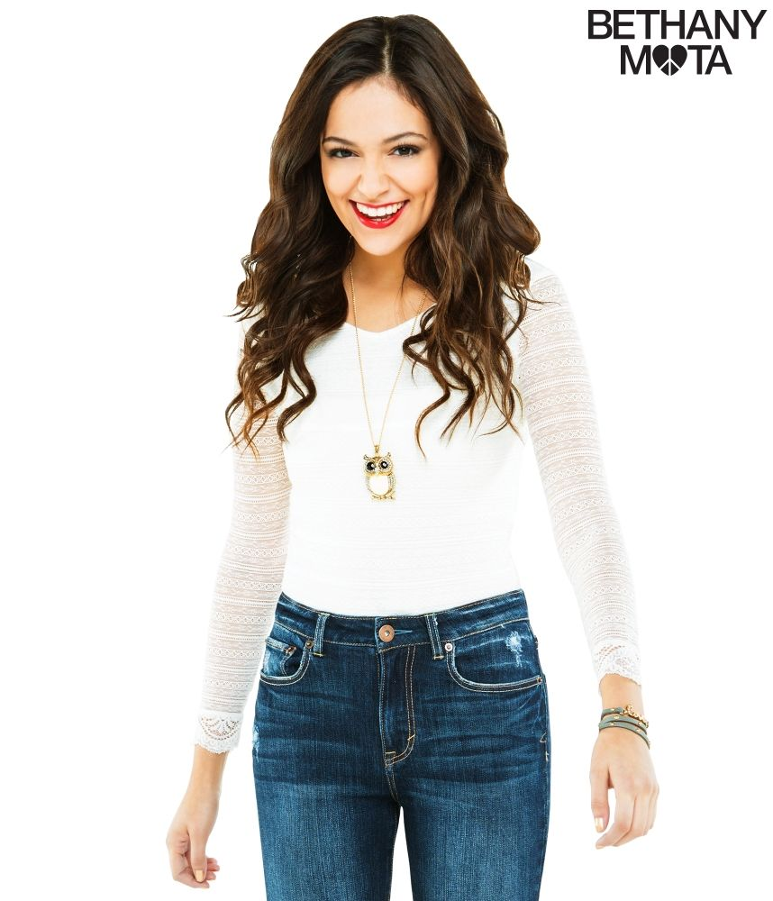 Lace bodysuit with jeans  Long Sleeve Lace Bodysuit from Bethany Mota collection at
