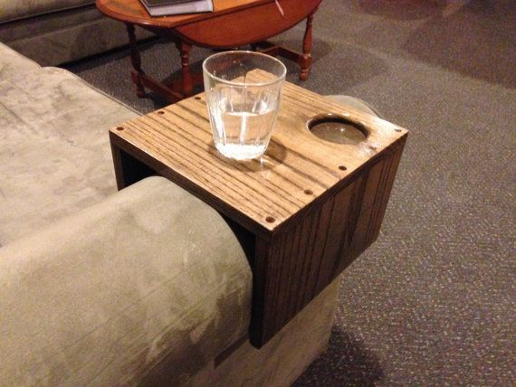 Solid Oak Couch Arm Wrap With Cup Holder By