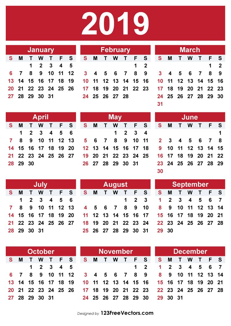 2019 Free Printable Calendar With Images Free Printable