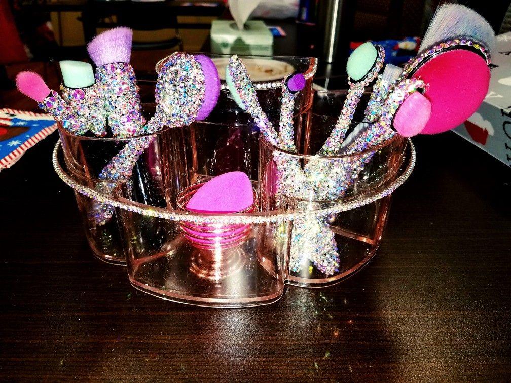 Rhinestone makeup brushes & rhinestone organizer