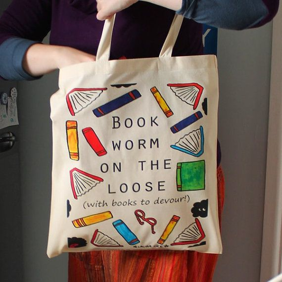Book Worm Book Lover Cat Gifts Book Tote Bag Cat Lover Book Heart Bookworm Gifts