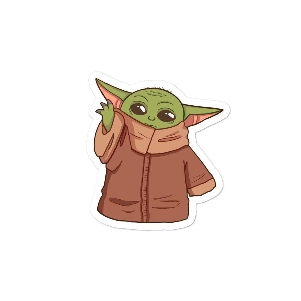 Cute Sticker Of Baby Yoda Cute Stickers Yoda Sticker Disney Sticker