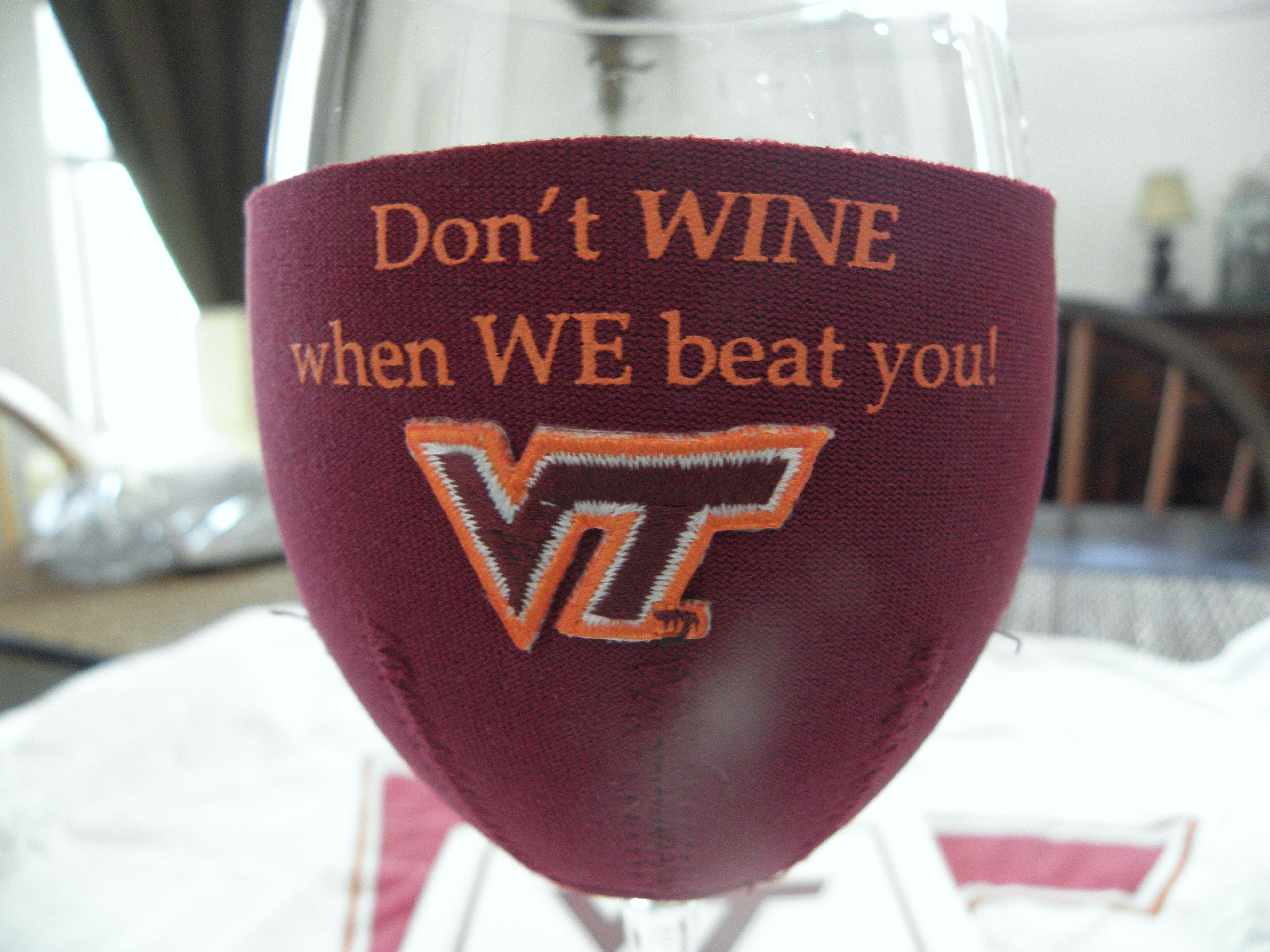 wine koozie Virginia tech football, Wine koozie