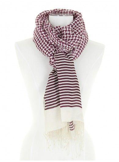 13dc15f0be36 Marina - Foulard Homme - Bicolore prune et blanc cassé en vente sur la  boutique Diwali Paris