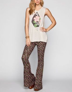 8ebf102b054609 FULL TILT Ditsy Floral Print Womens Flare Pants | fashion. | Ditsy ...