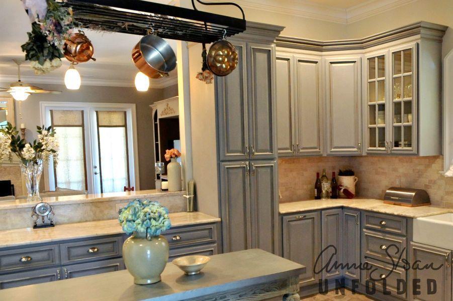 Annie Sloan Chalk Paint on kitchen cabinets in Paris Grey ...