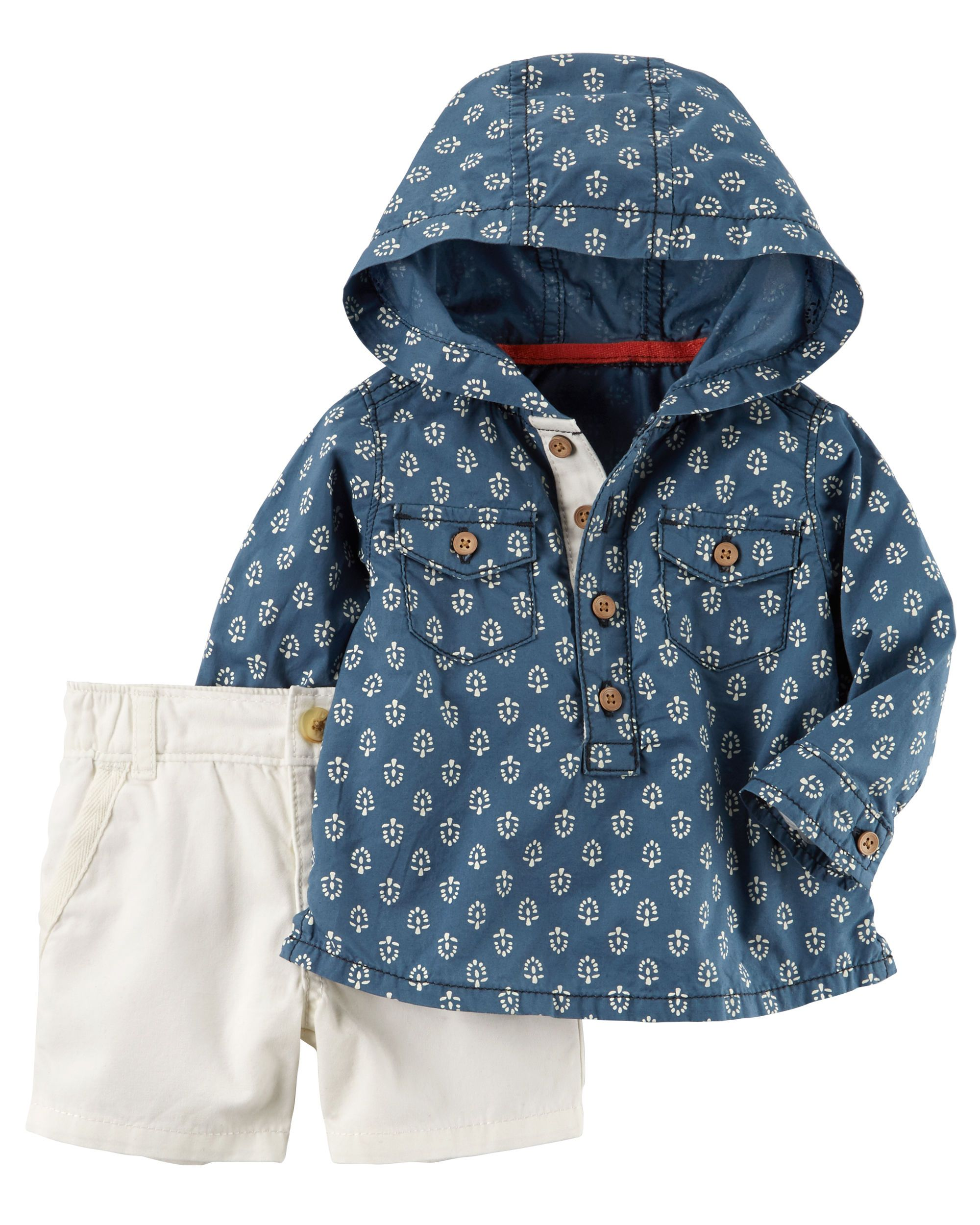 Carters Baby Boys 2 Piece Hooded Shirt and Canvas Shorts Set