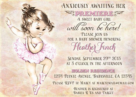 Vintage baby shower for girl princess pink diy printable vintage ballerina baby shower invitation for girl ballet party baby shower girl diy filmwisefo Images