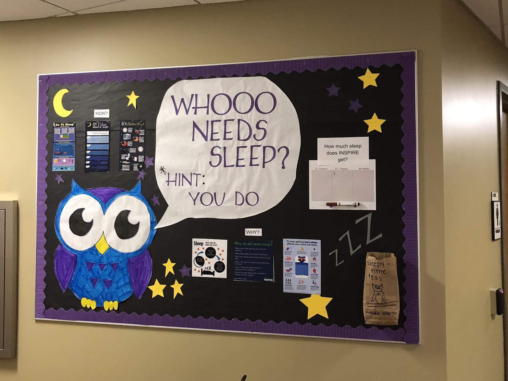 Bulletin Board about sleep #RA #ResLife #WhoooNeedsSleep #Sleep #BulletinBoard #rabulletinboards - Jul Ft #rabulletinboards