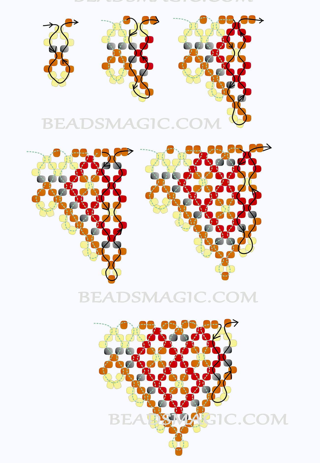 Netted necklace; seed beads
