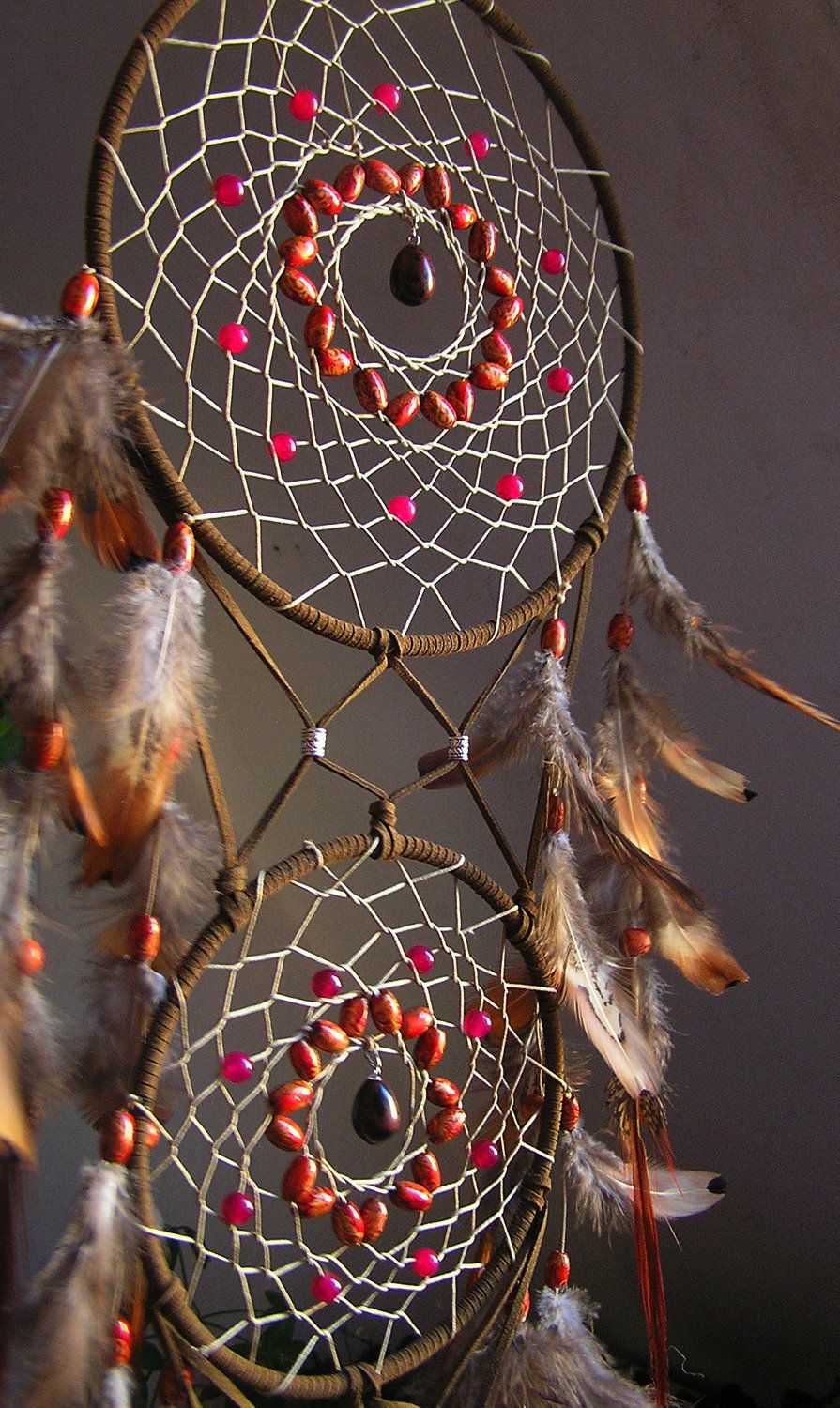 Brown Dreamcatcher with pink malaysian jade and by PiNeilCreations