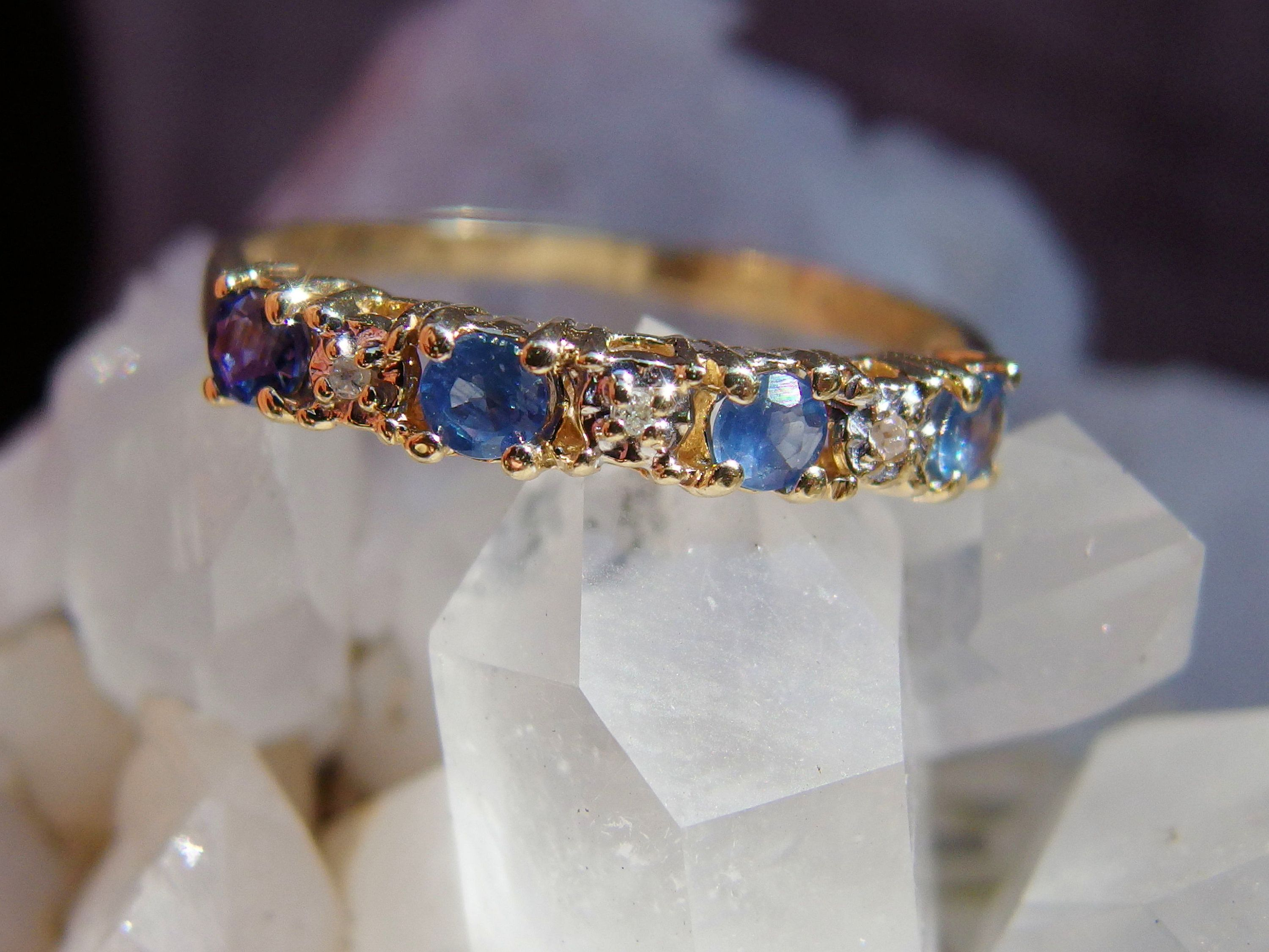 10k Yellow Gold Sapphire Diamond Band 4 Medium Blue Faceted Stones 3 Accent Diamonds In Illusion Moun Sapphire And Diamond Band Yellow Gold Sapphire Sapphire