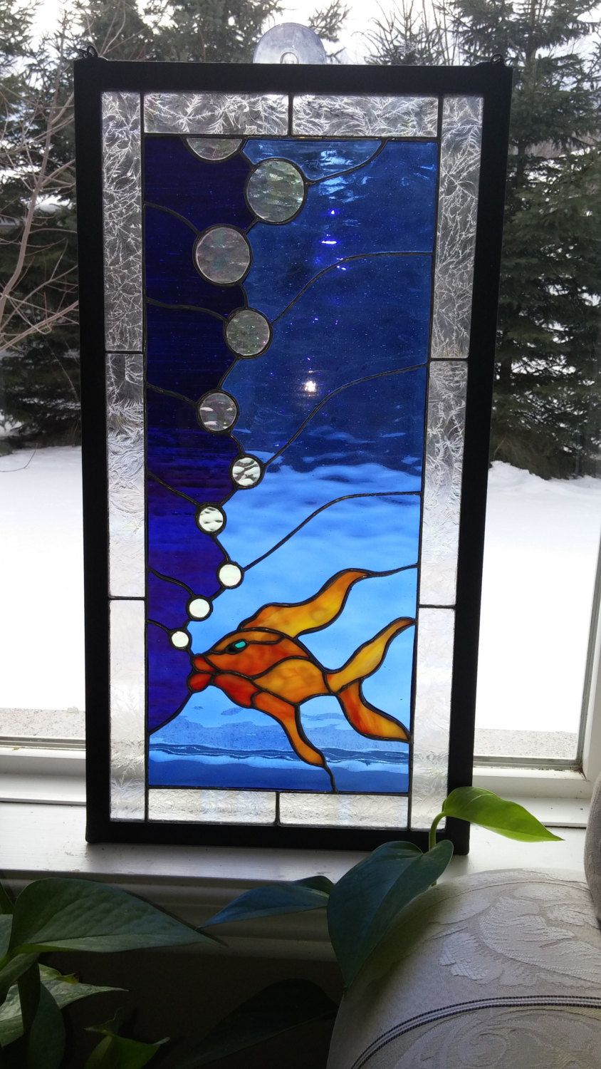 Stained Glass Window Wall Art Ocean Blue Water Light And