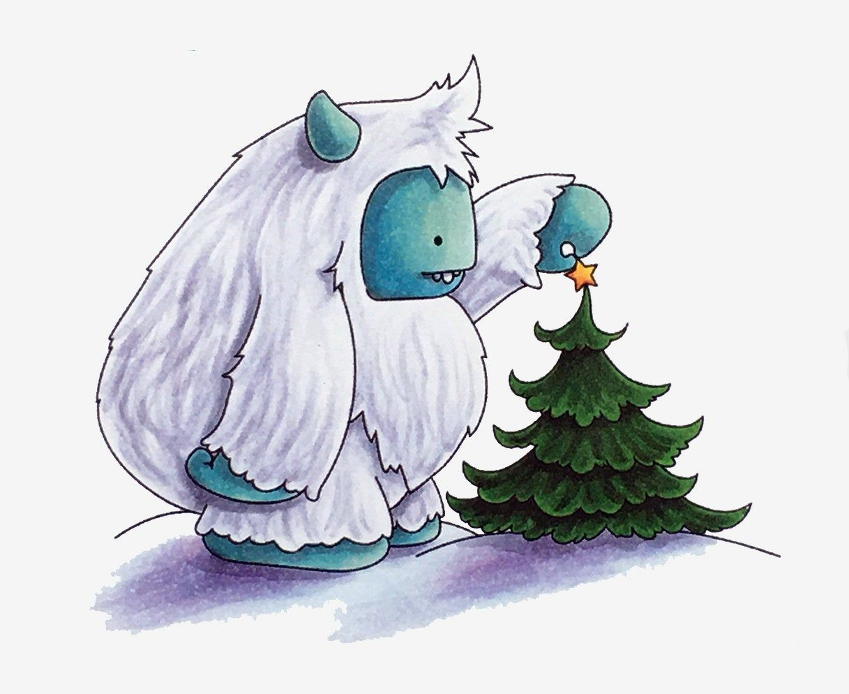 Stamping Bella Cling Rubber Stamps Christmas Yeti With A Star On Top Of Christmas Tree Christmas Stamps Rubber Pop Stickers Christmas Projects