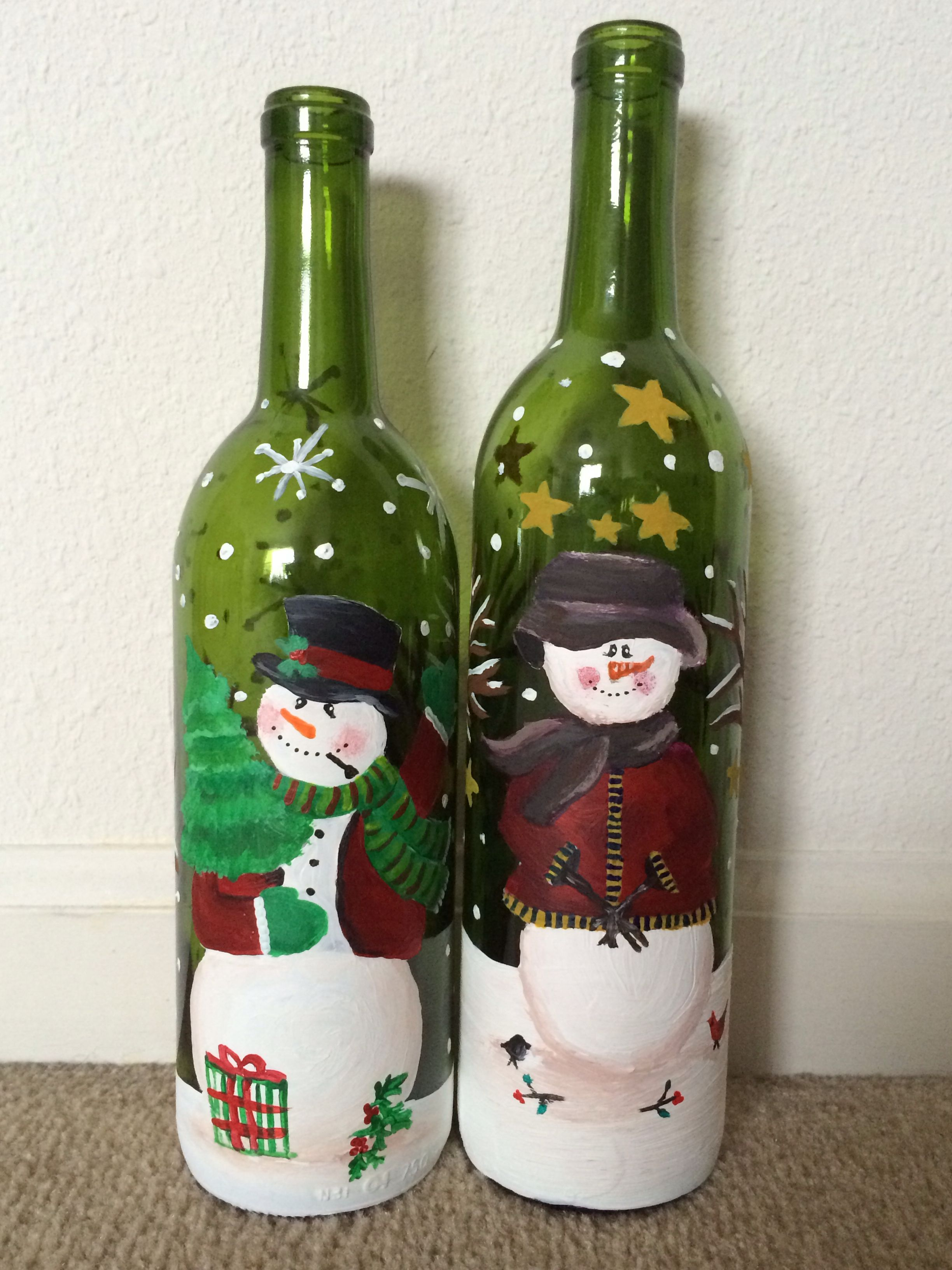 Mr and mrs snowman painted on wine bottles with acrylic for How to paint bottles with acrylic