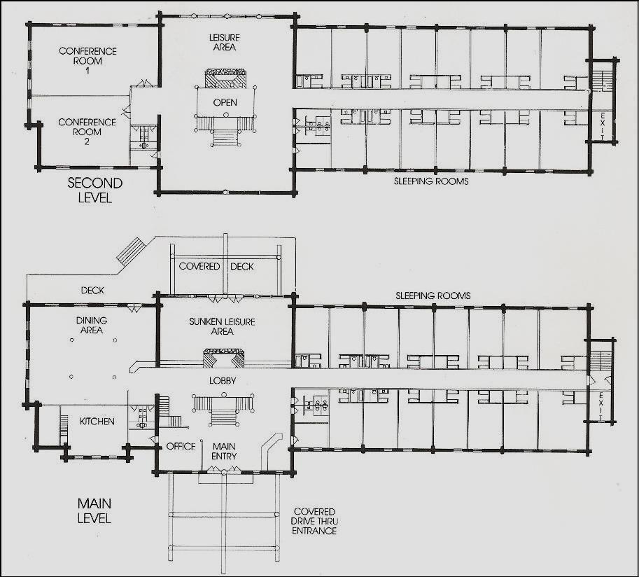 Resorts Lodges Pondarosa Log Lodges Wilderness Building Systems Cabin Floor Plans Log Cabin Plans Resort Plan
